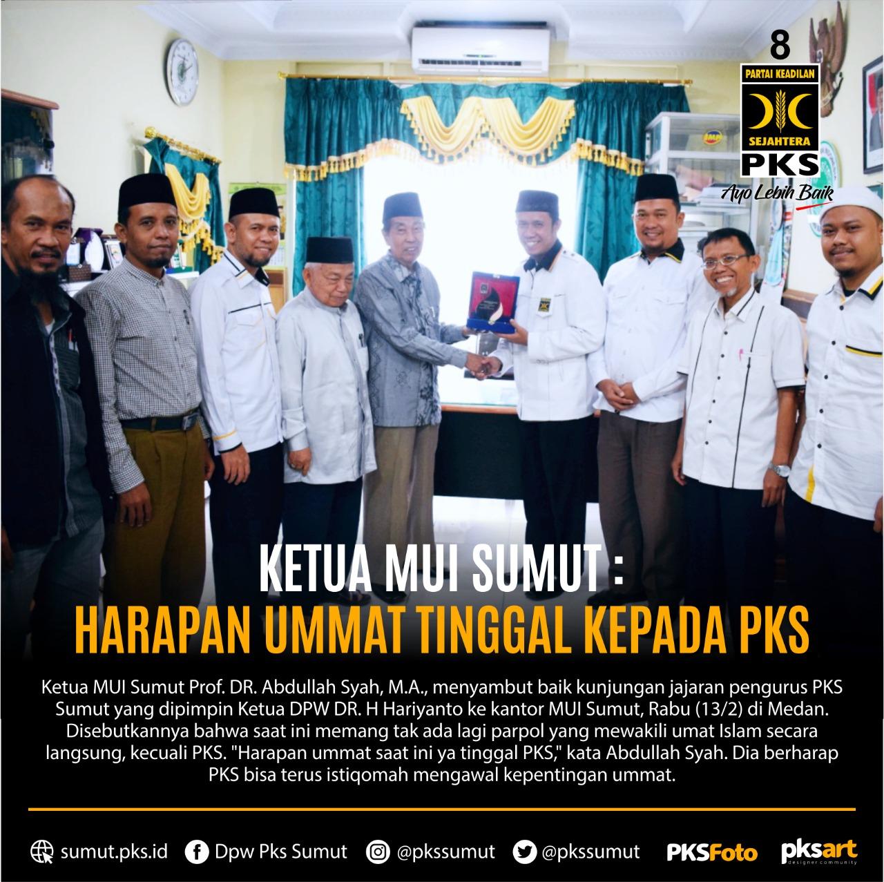 Ketua MUI Sumut, PKS harapan terakhir ummat